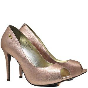 Peep Toe Salto Alto Fino - 9406 - Metal Rose