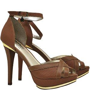 Sandália Salto Fino - 9756 - Vazado Caramelo