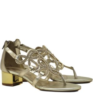Sandália de dedo com metal - 17048 - Ouro