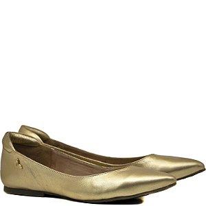 Sapatilha de Couro forrada de Couro - Ouro - 9804
