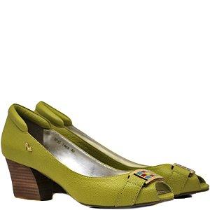 Peep Toe Salto Médio - Amarelo - 7668
