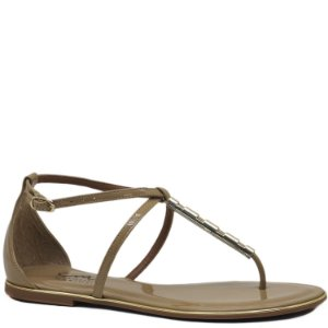 Rasteira Tira Metal - Verniz Light Tan - 984516
