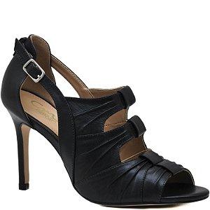Sandália Salto Fino Alto Pregas - 1050513 - Preta