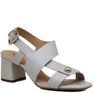 Sandália com Salto Grosso Médio - Off White - AN44241