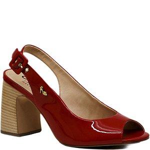 Sandalia Salto Grosso - Verniz Vermelho - KI 3919