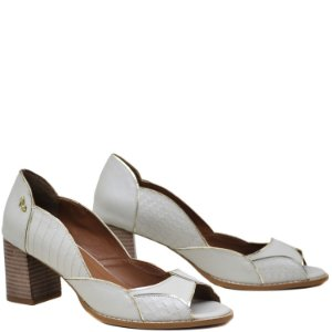 Peep Toe, Salto Grosso Médio - Croco / Napa Off White - PL49209