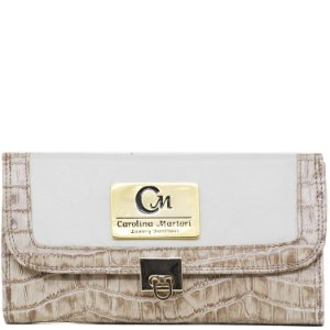 Carteira Grande - Napa Off White / Croco Nude - 1006