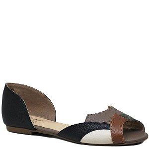 Sapatilha peep toe - Napa Caramelo / Siena / Off / Preto - HI4432