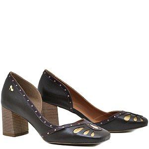 Sapato, Salto Grosso Médio - Café / Vinho / Rose / Bronze - PL 7104