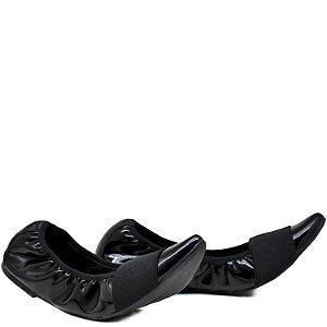 Sapatilha confortável - Elástico - Verniz Preto - GIU 22238