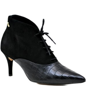 Bota Ankle Boot - Croco Preto / Nobuck Preto - KI 41116