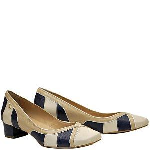 Sapato, Salto Grosso Baixo - Off / Ostra / Cobalto - PL 38376