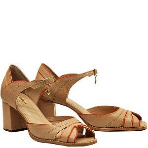 Sandalia Salto Grosso Médio - Mel - PL 51105