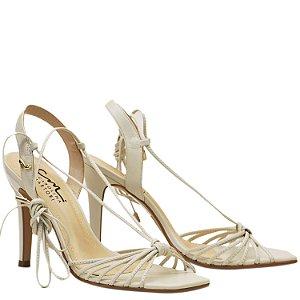 Sandália de Tiras e Amarração - Off White - DI 10841