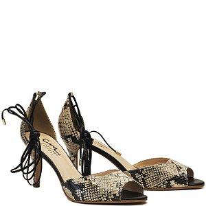 Sandália Salto Fino e Amarração - Snake Bege - DI 14007