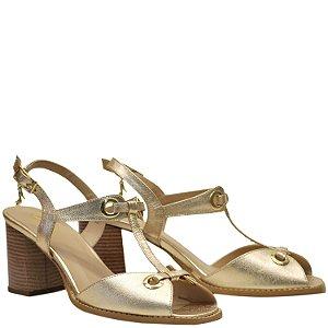 Sandália Clássica Salto Grosso Médio - Glace Dourado - PL 51135