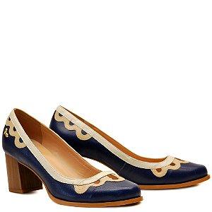 Sapato Salto Grosso Médio - Anil / Ostra / Off - PL 16115