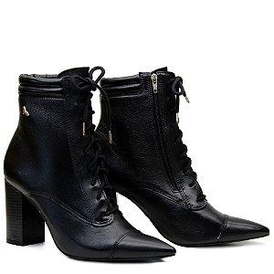 Bota Ankle Boot Amarrar Salto Grosso - Preto - ST 2060502