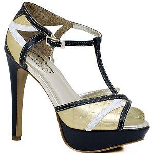 Sandália Salto Alto e Meia Pata - 4963 - Marinho e Ouro