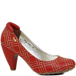 Scarpin Conforto De Bico Redondo Matelassê - 6362 - Vermelho