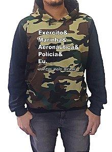 Blusa Moletom Camuflada Mista Exército/Marinha/Aeronáutica/Policia/Eu