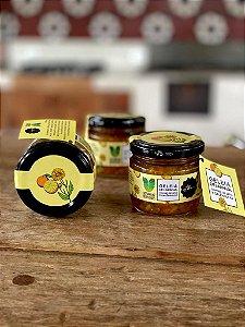 Geleia de laranja orgânica, mel de jatai e calêndulas - Companhia dos Fermentados com mel MBee.