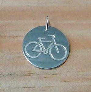 Pingente Bicicleta Redondo Prata 925