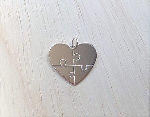 Pingente Quebra Cabeça de Coração Prata 925