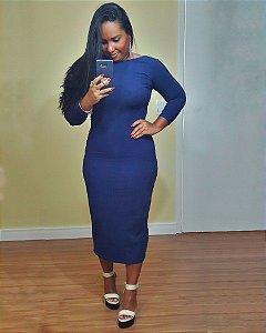 Vestido Decote Quadrado Azul Marinho Noite Dress to