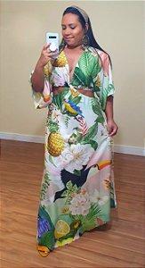 Vestido Farm Cropped Verão Tropical - Exclusivo de multimarca