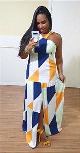 Vestido FYI Longo Recortes Estampa Geométrica