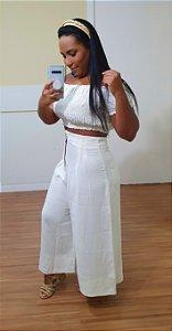 Calça Dress to Mega Pantacourt Off White Cuscuz