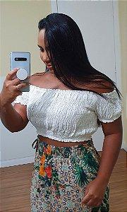 Blusa Dress to Ciganinha Lastex Off White Cuscuz