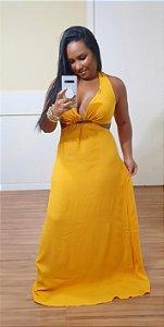 Vestido Dress to Recorte Busto Amarelo Ouro
