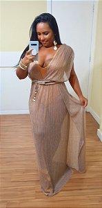 Vestido Dress to Plissado Lurex Nude [Linha Festa]