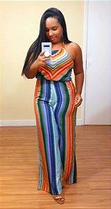 Macacão Dress to Longo Estampa Equilíbrio Listra Colorida
