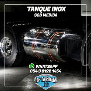 Kit Tanque de Combustível em Inox Polido  Sob medida 330 Litros Bocal Especial