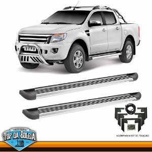 Estribo Lateral Alumínio G2 Polido para Pick-up Ford Ranger Cabine Dupla à Partir de 2013