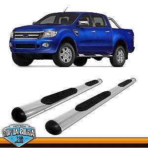 Estribo Lateral Alumínio Oval Cromado para Pick-up Ford Ranger Cabine Dupla à Partir de 2013