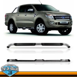 Estribo Lateral Alumínio Tubular Cromado para Pick-up Ford Ranger Cabine Dupla à Partir de 2013