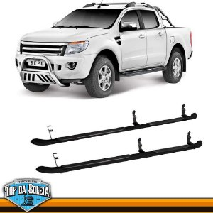 Estribo Lateral Alumínio Tubular Preto para Pick-up Ford Ranger Cabine Dupla à Partir de 2013