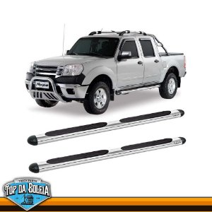 Estribo Lateral Alumínio Oval Cromado para Pick-up Ford Ranger Cabine Dupla Inferior a 2012