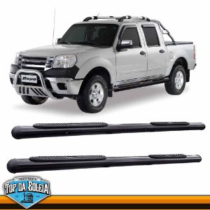Estribo Lateral Alumínio Oval Preto para Pick-up Ford Ranger Cabine Dupla Inferior a 2012