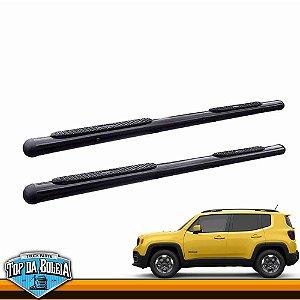 Estribo Lateral Alumínio Oval Preto para SUV Jeep Renegade
