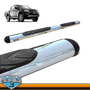 Estribo Lateral Alumínio Oval Cromado para Pick-up Mitsubishi Triton L200 Cabine Dupla à Partir de 2008