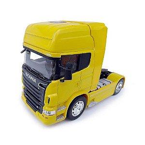 Miniatura Caminhão Scania V8 Toco Amarelo Escala 1:32
