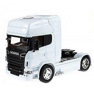 Miniatura Caminhão Scania V8 Toco Branco Escala 1:32