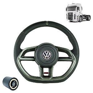 Volante esportivo para caminhão VW Constellation c/cubo mod Golf GTI