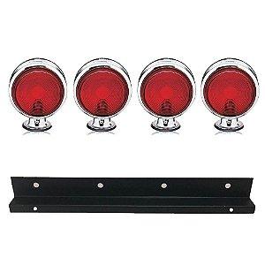 Kit 4 Lanternas Foguinho Vermelha Cromada com suporte
