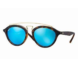 New Gatsby Oval Ray Ban - Tartaruga Fosco Lente Azul - RB4257
